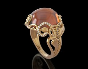 Evening ring with cabochon 3D print model