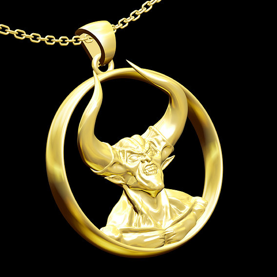 Darkness Angel Pendant jewelry Gold 3D print model