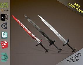 3D model low-poly PBR Long Sword
