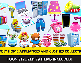 Toon Household Appliances Animated Low Poly 3D asset 3