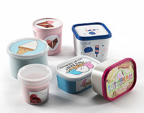 Ice Cream in Containers 3D