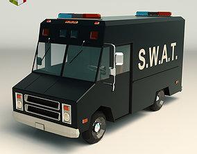 Low Poly SWAT Van 01 3D asset low-poly