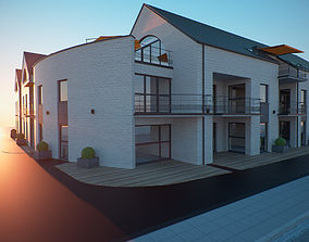 Residential corner building 3D model