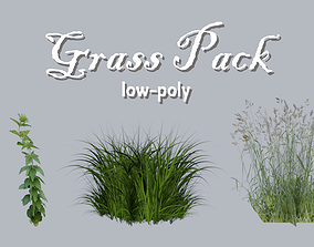 3D model Low-poly Grass Pack