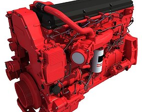 Red Truck Engine 3D Model