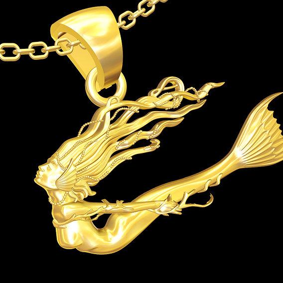 Beautiful Mermaid Sculpture pendant jewelry gold necklace 3D print model