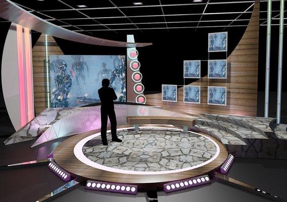 Virtual TV Studio Chat Set 11
