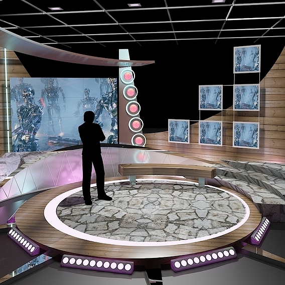 Virtual TV Studio Chat Set 11