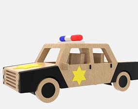 3D model Wooden Police Car