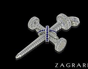 Diamond Cross Necklace 3D printable model jewel