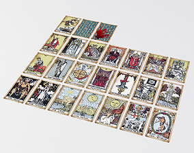 3D model Old Tarot Cards - Major Arcana - Tinted