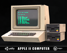 3D asset game-ready Apple 2 Computer