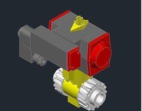 2 Way air actuated valve 3D