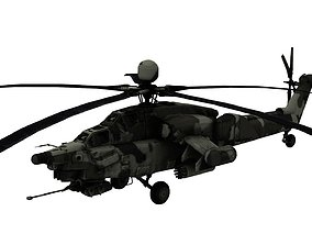 Lowpoly Mi-28 Helicopter 3D Model game-ready