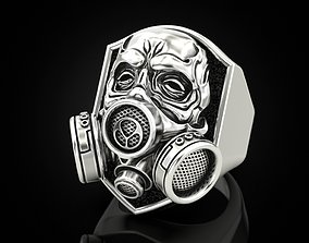 3D print model Skull ring with respirator