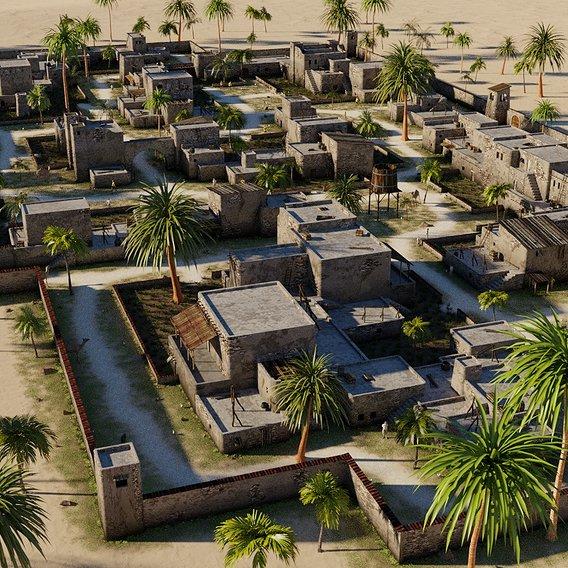 Desert village in Blender