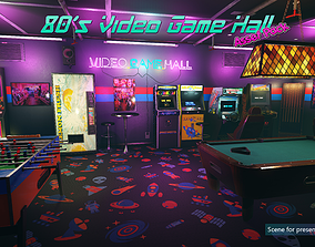 Low-Poly 80s Video Game Hall Pack 3D model