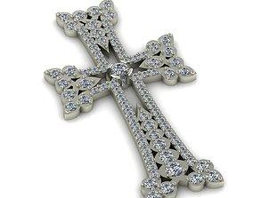 3D printable model jewel Armenian cross with gems