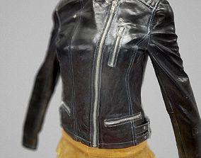 Golden Skirt and Leather Jacket 3D asset