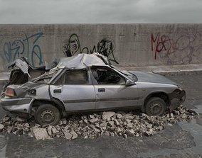 3D destroyed car 076 am165