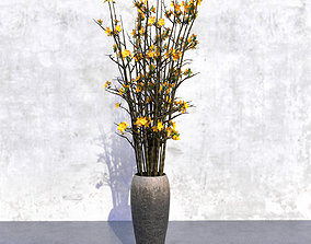 3D vase Yellow Forsythia in Vase