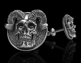 3D printable model anatomical skull earrings studs