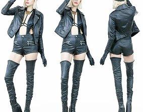 Hot Girl in Black Leather Boots jacket Hat 3D model