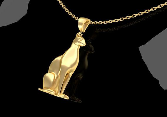 Egyptian CAT sculpture Pendant Jewelry 3D Print Model