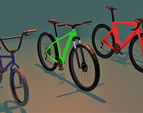Bike Pack Low poly 3D models rigged game-ready
