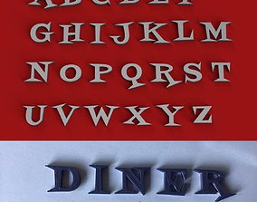 DINER uppercase and lowercase 3D Letters STL FILE