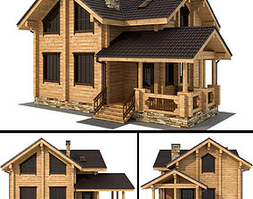 Log house - rounded log exterior 3D