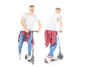 Stylish man on a skooter 29 3D model