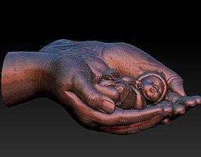 3D model hands carrying sleeping baby