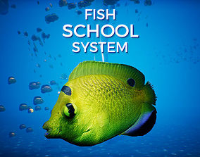 3D model animated UE4 Fish School System