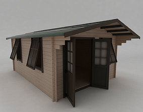 Summer House Log Cabin Garden Office 3D model