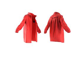 Red wool female coat 3D asset