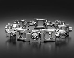 3D print model Stylish big mens bracelet with a skull in 3