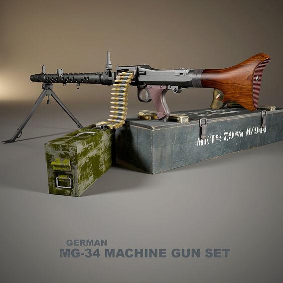 German MG-34 machine gun set