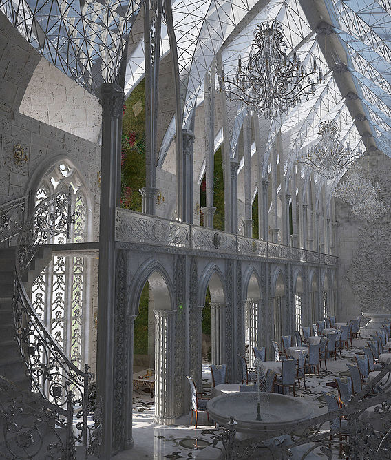 Interior of the Gothic interior of the restaurant (concept)