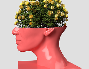 3D print model Head Woman Vase