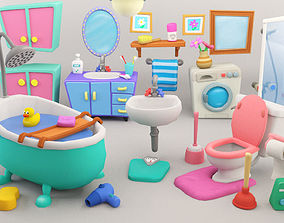 Cartoon Bathroom Package 3D asset