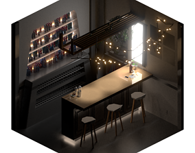 Isometric Lowpoly Room Low-poly 3D model VR / AR ready