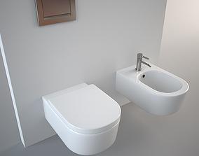 minimal Flaminia Link Bidet and Toilet 3D model