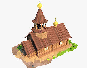 Cartoon wooden church cross 3D model