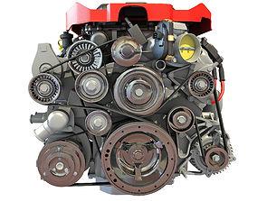 V8 Supercharged Engine 3D