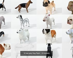 12 low poly Dog Pack 3D model