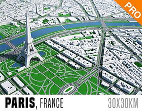 Paris City And Surroundings France Low Poly VR 3D asset