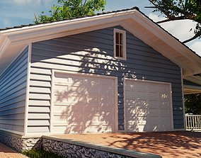 3D model Classic style porch house garage only