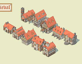 Low Poly Medieval Houses 3D model