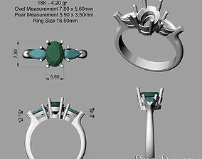 3D printable model 3 Stone Ring